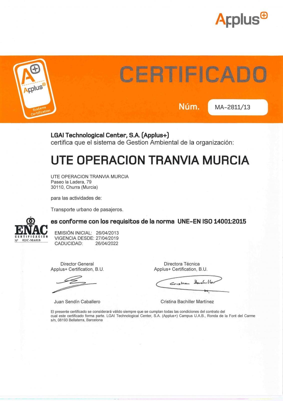 Certificado UNE en ISO 14001
